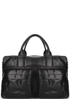 Черная кожаная сумка со съемным ремнем Gianni Conti