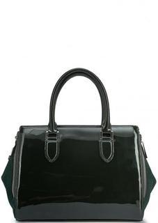 Лаковая сумка с короткими ручками и дополнительным плечевым ремнем Gianni Conti