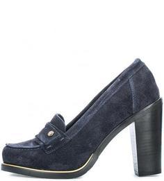 Синие замшевые туфли на каблуке Tommy Hilfiger