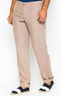 Бежевые льняные брюки со шнуром на поясе 18 Crr81 Cerruti