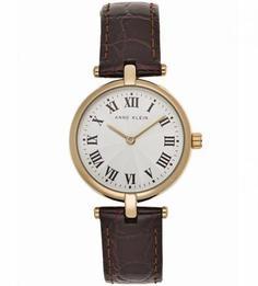 Часы с кожаным ремешком с выделкой под животный принт Anne Klein