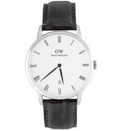 Часы округлой формы с кожаным браслетом Daniel Wellington