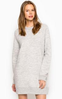 Короткое платье-свитшот из шерсти Hilfiger Denim