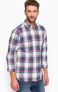 Хлопковая приталенная рубашка с карманом Hilfiger Denim
