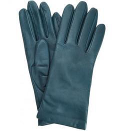 Бирюзовые кожаные перчатки Eleganzza