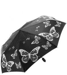"""Складной зонт черного цвета с системой """"антиветер"""" Flioraj"""
