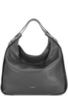 Серая кожаная сумка с одним отделом Furla