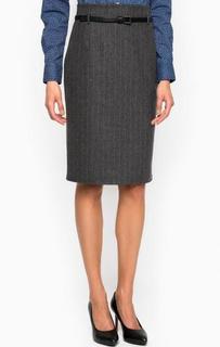 Шерстяная юбка в полоску с ремнем Pennyblack
