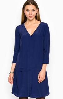 Синее платье из вискозы свободного кроя Armani Jeans