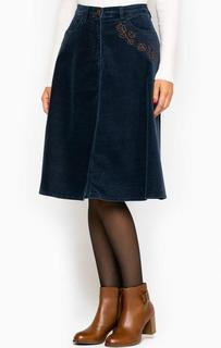 Расклешенная вельветовая юбка синего цвета River Woods