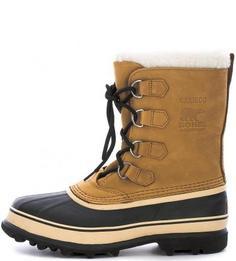 Высокие непромокаемые ботинки из нубука и резины Sorel