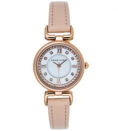 Часы округлой формы с кожаным браслетом Anne Klein