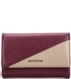 Кожаный бордовый кошелек с одним отделом Baldinini