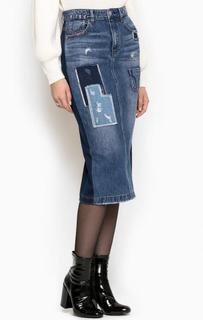 Джинсовая юбка-карандаш с нашивками Miss Sixty