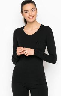 Черная футболка с длинными рукавами и отделкой стразами Emporio Armani
