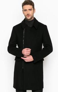 Однотонное шерстяное пальто на молнии и пуговицах Strellson