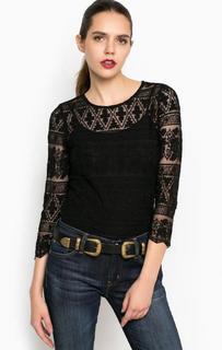 Черная блуза с кружевными вставками D&S Ralph Lauren