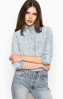 Голубая рубашка прямого кроя из денима D&S Ralph Lauren