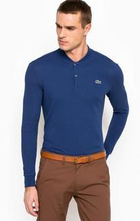 Синяя хлопковая футболка поло Lacoste