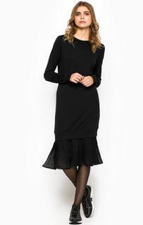 Черное платье с плиссированной вставкой Armani Jeans