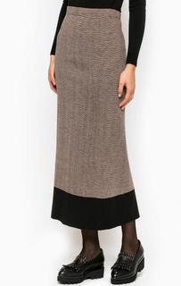 Коричневая юбка с разрезом Think Chic