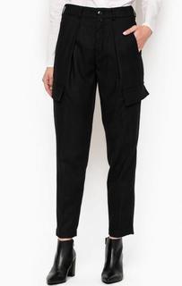 Черные брюки из полиэстера, вискозы и шерсти Drykorn
