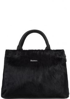 Кожаная с сумка с вставкой из натурального меха Marina C.