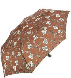 Коричневый зонт с цветочным принтом Doppler