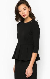 Блуза с баской черного цвета Pois