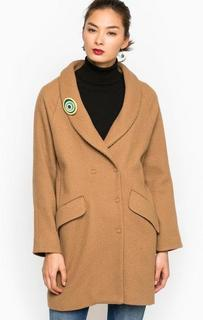 Пальто на кнопках из шерсти и полиэстера Think Chic