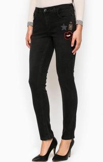Черные зауженные джинсы с нашивками Liu Jo