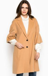 Бежевое пальто из шерсти на пуговицах Miss Sixty