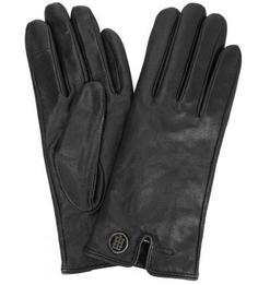 Черные кожаные перчатки с шерстяной подкладкой Tommy Hilfiger