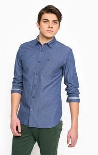 Синяя приталенная рубашка Hilfiger Denim