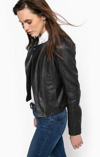 Черная кожаная куртка на молнии Calvin Klein Jeans