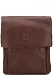 Кожаная однотонная сумка через плечо Sergio Belotti