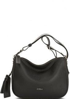 Черная кожаная сумка с одним отделом Furla