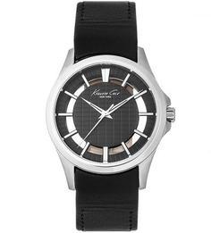 Часы с черным кожаным браслетом Kenneth Cole