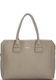 Кожаная серая сумка с одним отделом Furla