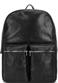 Черный кожаный рюкзак с одним отделом Sergio Belotti