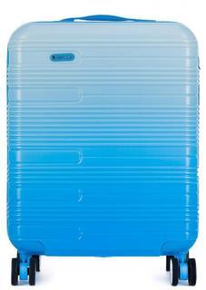Пластиковый голубой чемодан на колесах Verage