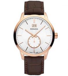 Часы с коричневым кожаным ремешком Rodania