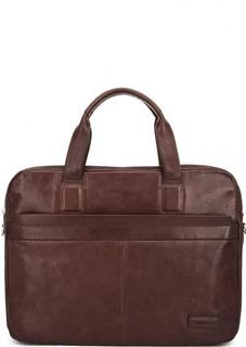 Однотонная кожаная сумка с двумя отделами Sergio Belotti