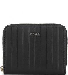 Черный кожаный кошелек в полоску Dkny