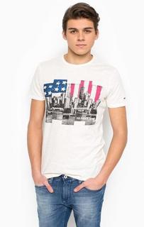 Однотонная футболка с контрастным принтом Hilfiger Denim