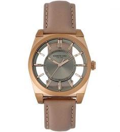 Часы с бежевым кожаным браслетом Kenneth Cole