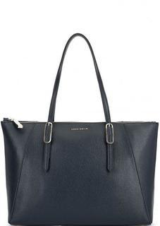 Синяя кожаная сумка с длинными ручками Coccinelle