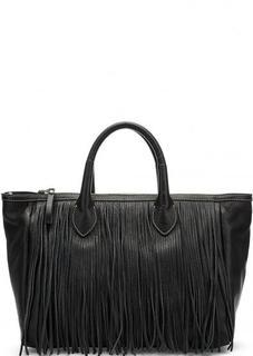 Вместительная кожаная сумка с бахромой Io Pelle