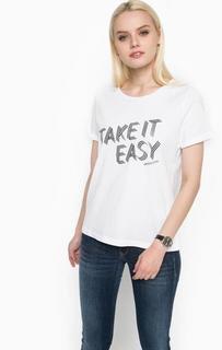 Белая футболка из хлопка с принтом Armani Jeans