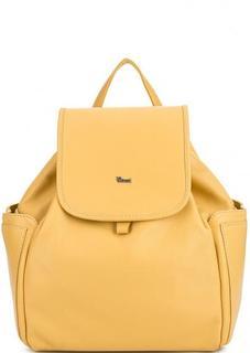 Однотонный кожаный рюкзак с узкими лямками Bruno Rossi